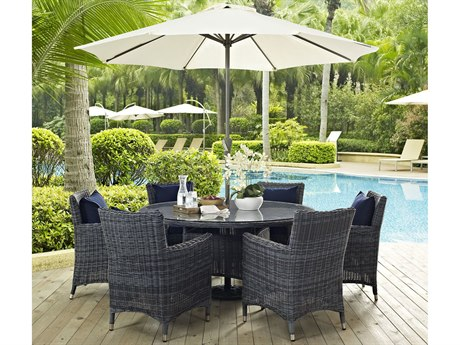 Modway Outdoor Summon Gray Wicker 8 Piece Dining Set in Canvas Navy