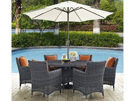 Modway Outdoor Summon Gray Wicker 8 Piece Dining Set in Canvas Tuscan