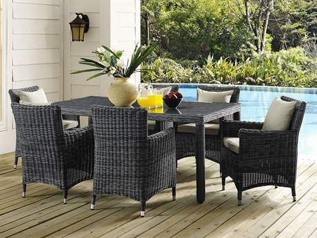Modway Outdoor Summon Gray Wicker 7 Piece Dining Set in Canvas Antique Beige