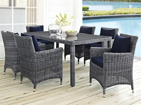 Modway Outdoor Summon Gray Wicker 7 Piece Dining Set in Canvas Navy