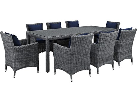 Modway Outdoor Summon Gray Wicker 9 Piece Dining Set in Canvas Navy