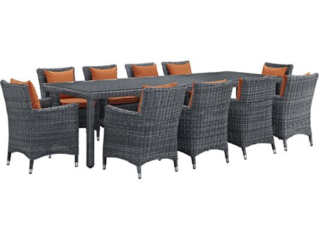 Modway Outdoor Summon Gray Wicker 11 Piece Dining Set in Canvas Tuscan