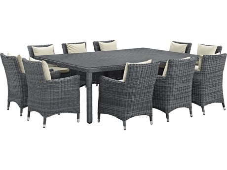 Modway Outdoor Summon Gray Wicker 11 Piece Dining Set in Canvas Antique Beige