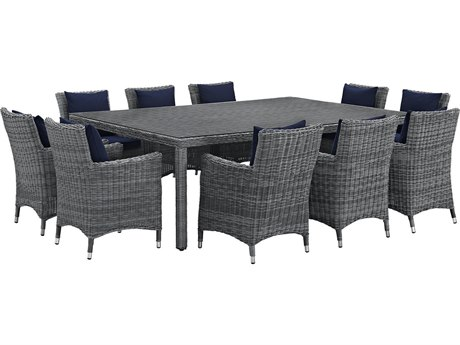 Modway Outdoor Summon Gray Wicker 11 Piece Dining Set in Canvas Navy