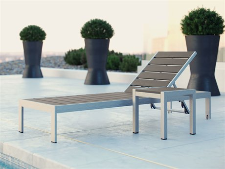 Modway Outdoor Shore Silver Resin 2 Piece Chaise Lounge Set in Gray