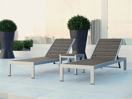 Modway Outdoor Shore Silver Resin 3 Piece Chaise Lounge Set in Gray