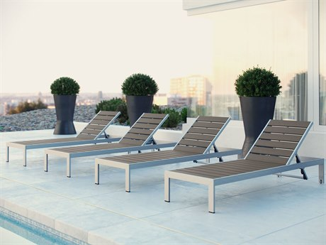 Modway Outdoor Shore Silver Resin 4 Piece Chaise Lounge Set in Gray