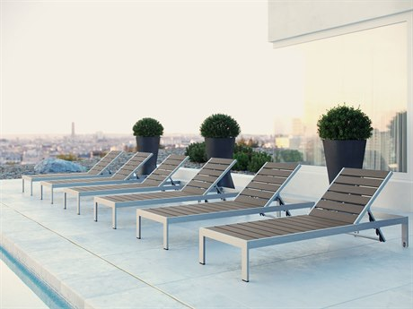 Modway Outdoor Shore Silver Resin 6 Piece Chaise Lounge Set in Gray