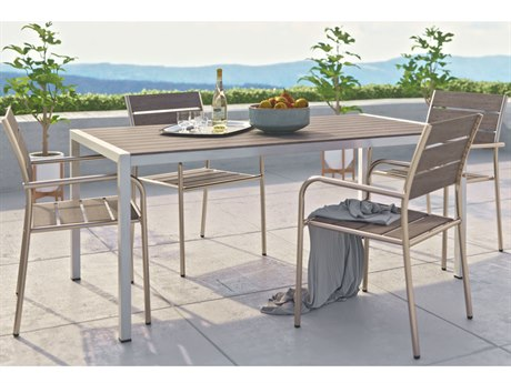 Modway Outdoor Shore Silver Resin 5 Piece Dining Set in Gray