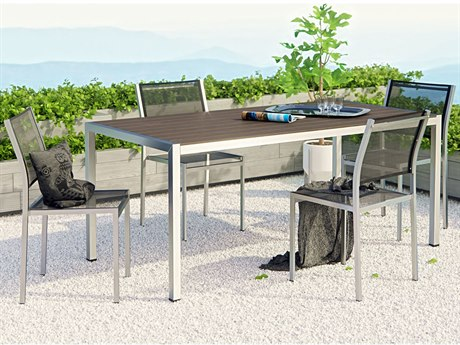 Modway Outdoor Shore Silver Aluminum 5 Piece Dining Set in Black