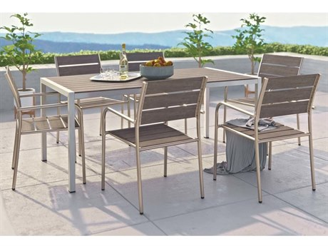Modway Outdoor Shore Silver Resin 7 Piece Dining Set in Gray