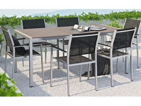 Modway Outdoor Shore Silver Aluminum 7 Piece Dining Set in Black
