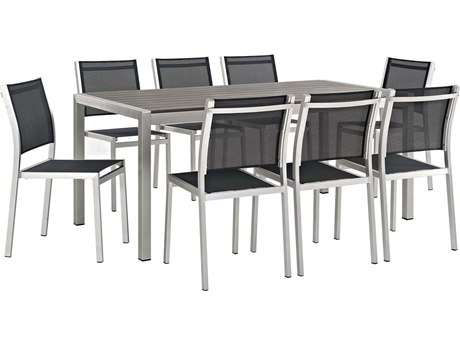 Modway Outdoor Shore Silver Aluminum 9 Piece Dining Set in Black