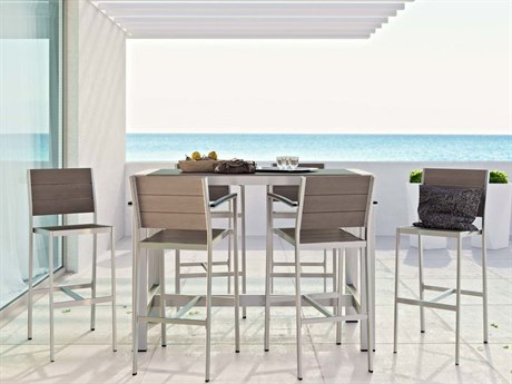 Modway Outdoor Shore Silver Resin 7 Piece Bar Set in Gray