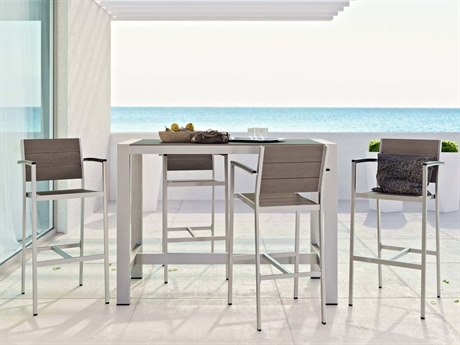 Modway Outdoor Shore Silver Resin 5 Piece Bar Set in Gray