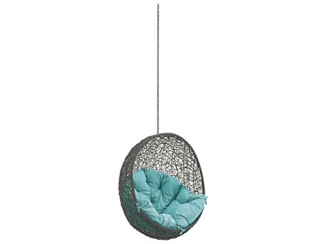Modway Outdoor Hide Gray Steel Swing Chair in Turquoise
