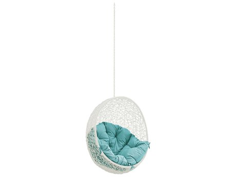 Modway Outdoor Hide White Steel Swing Chair in Turquoise