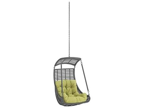 Modway Outdoor Jungle Gray Steel Swing Chair in Peridot