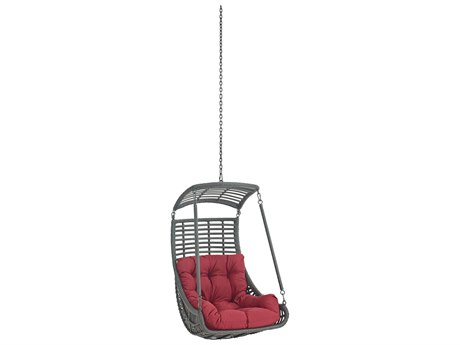 Modway Outdoor Jungle Gray Steel Swing Chair in Red