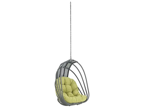 Modway Outdoor Whisk Silver Steel Swing Chair in Peridot