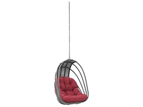 Modway Outdoor Whisk Silver Steel Swing Chair in Red