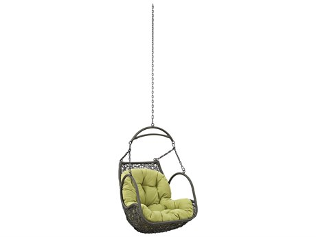 Modway Outdoor Arbor Gray Steel Swing Chair in Peridot