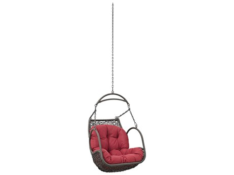 Modway Outdoor Arbor Gray Steel Swing Chair in Red