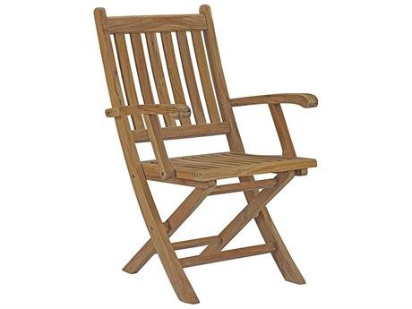 Modway Outdoor Marina Natural Teak Folding Lounge Chair