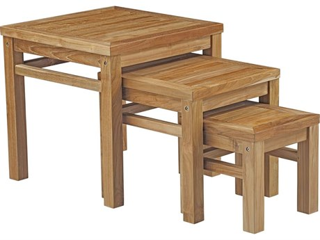 Modway Outdoor Marina Natural Teak 11-19'' Wide Square Nesting Tables