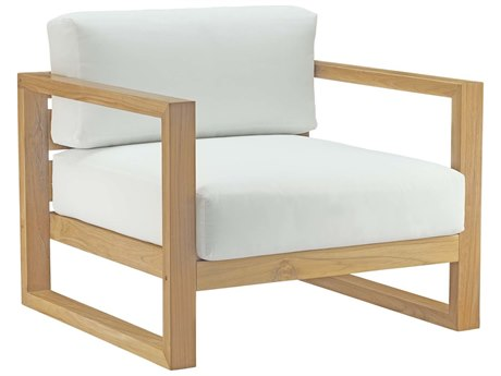 Modway Outdoor Upland Natural White Teak Lounge Chair in White
