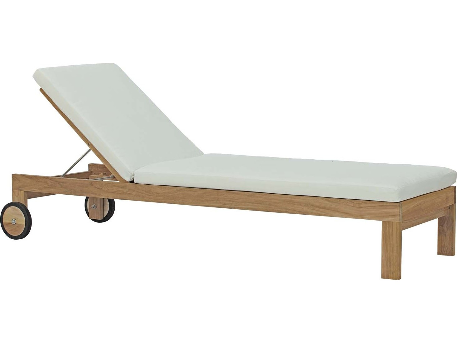 Modway Outdoor Upland Natural Teak Chaise Lounge In White