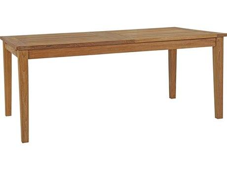 Modway Outdoor Marina Natural Teak 108''W x 39''D Rectangular Extendable Dining Table
