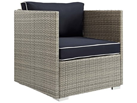 Modway Outdoor Repose Light Gray Wicker Lounge Chair in Navy - Modway Outdoor Repose Light Gray Wicker Lounge Chair In Navy EEI