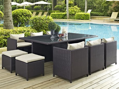 Modway Outdoor Reversal Espresso Wicker 11 Piece Dining Set in Beige