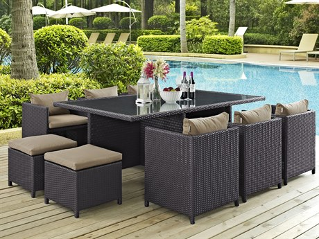 Modway Outdoor Reversal Espresso Wicker 11 Piece Dining Set in Mocha