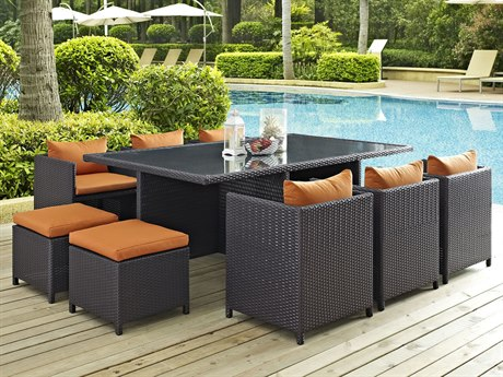 Modway Outdoor Reversal Espresso Wicker 11 Piece Dining Set in Orange