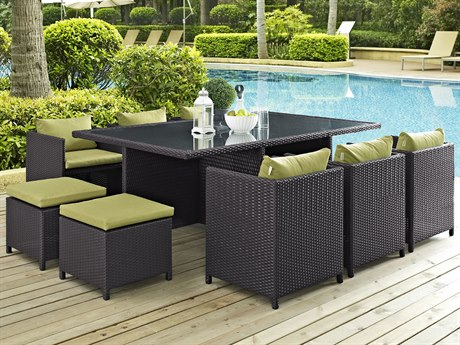 Modway Outdoor Reversal Espresso Wicker 11 Piece Dining Set in Peridot