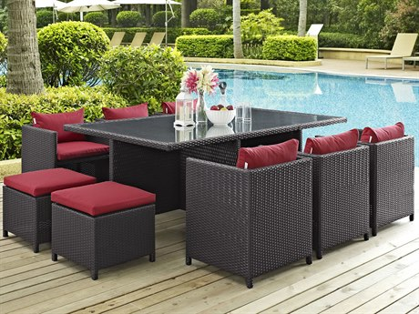 Modway Outdoor Reversal Espresso Wicker 11 Piece Dining Set in Red