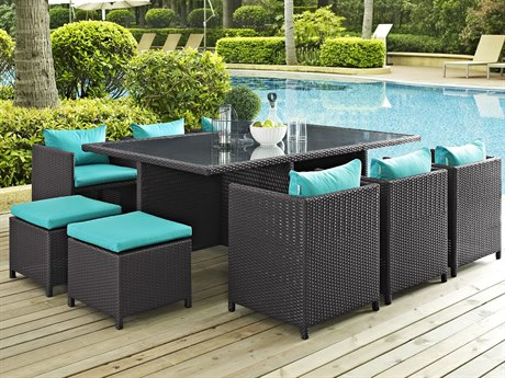 Modway Outdoor Reversal Espresso Wicker 11 Piece Dining Set in Turquoise