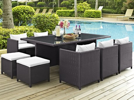 Modway Outdoor Reversal Espresso Wicker 11 Piece Dining Set in White