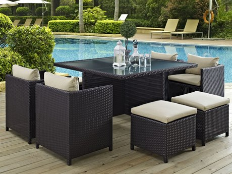 Modway Outdoor Inverse Espresso Wicker 9 Piece Dining Set in Beige