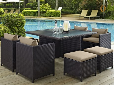 Modway Outdoor Inverse Espresso Wicker 9 Piece Dining Set in Mocha