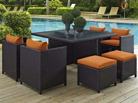 Modway Outdoor Inverse Espresso Wicker 9 Piece Dining Set in Orange