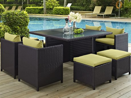 Modway Outdoor Inverse Espresso Wicker 9 Piece Dining Set in Peridot