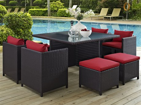 Modway Outdoor Inverse Espresso Wicker 9 Piece Dining Set in Red