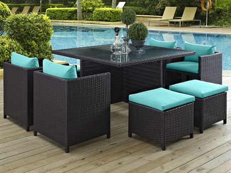 Modway Outdoor Inverse Espresso Wicker 9 Piece Dining Set in Turquoise