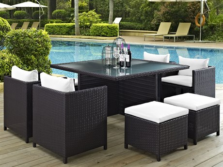 Modway Outdoor Inverse Espresso White 9 Piece Dining Set in Beige