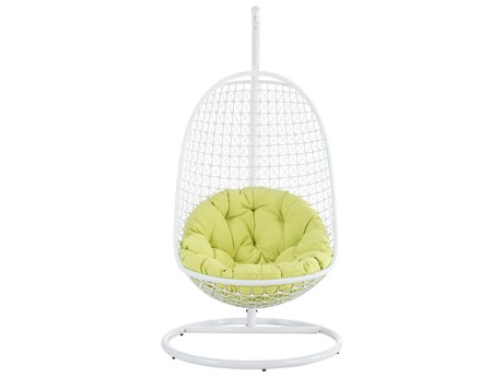 Modway Outdoor Encounter White Aluminum Swing Lounge Chair in Florecent Green