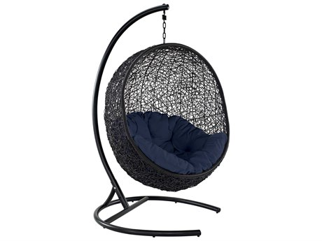 Modway Outdoor Encase Espresso Aluminum Swing Lounge Chair in Navy