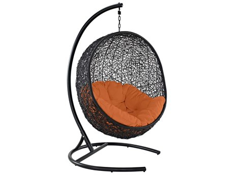 Modway Outdoor Encase Espresso Aluminum Swing Lounge Chair in Orange